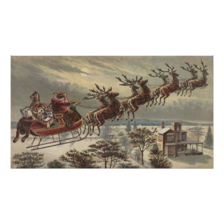 Vintage Christmas, Victorian Santa Claus in Sleigh Posters