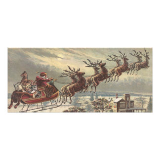 Vintage Christmas, Victorian Santa Claus in Sleigh Rack Card