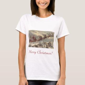 Vintage Christmas, Victorian Santa Claus in Sleigh T-Shirt