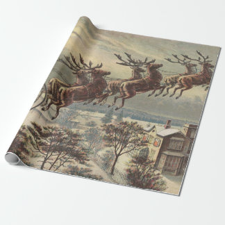 Vintage Christmas, Victorian Santa Claus in Sleigh Wrapping Paper