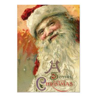 "Vintage Christmas, Victorian Santa Claus 5"" X 7"" Invitation Card"