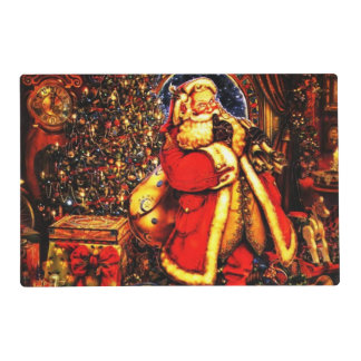 Vintage Christmas Victorian Santa Claus Laminated Placemat