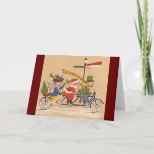 Vintage Christmas, Victorian Santa Claus on Bike Holiday Card