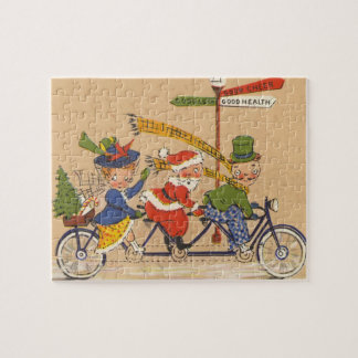 Vintage Christmas, Victorian Santa Claus on Bike Jigsaw Puzzle