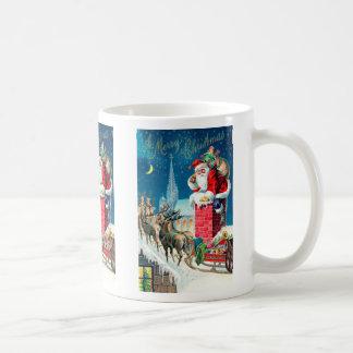 Vintage Christmas Victorian Santa Claus on Chimney Coffee Mug