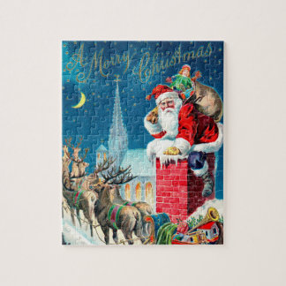 Vintage Christmas Victorian Santa Claus on Chimney Jigsaw Puzzle