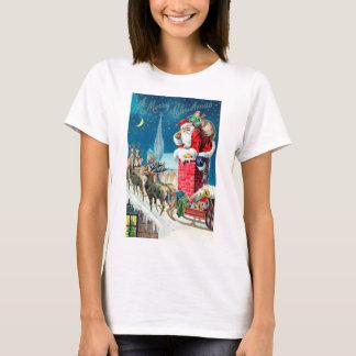 Vintage Christmas Victorian Santa Claus on Chimney T-Shirt