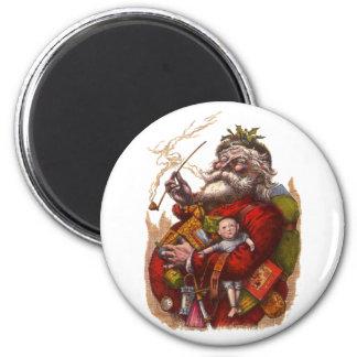 Vintage Christmas, Victorian Santa Claus Pipe Toys 6 Cm Round Magnet