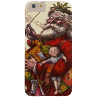 Vintage Christmas, Victorian Santa Claus Pipe Toys Barely There iPhone 6 Plus Case