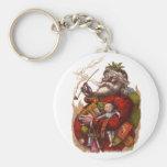 Vintage Christmas, Victorian Santa Claus Pipe Toys Basic Round Button Key Ring