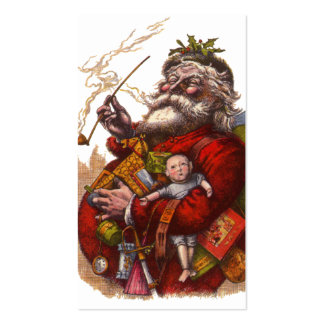 Vintage Christmas Victorian Santa Claus Pipe Toys Business Cards