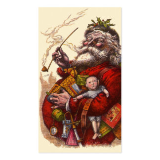 Vintage Christmas Victorian Santa Claus Pipe Toys Business Card