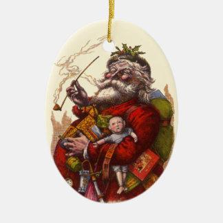 Vintage Christmas, Victorian Santa Claus Pipe Toys Christmas Ornament