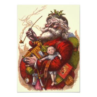 Vintage Christmas, Victorian Santa Claus Pipe Toys Custom Invites