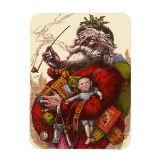 Vintage Christmas, Victorian Santa Claus Pipe Toys Magnet