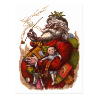 Vintage Christmas, Victorian Santa Claus Pipe Toys Postcard