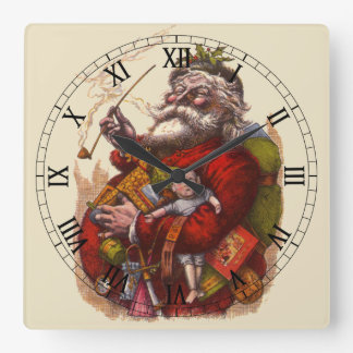 Vintage Christmas, Victorian Santa Claus Pipe Toys Square Wall Clock