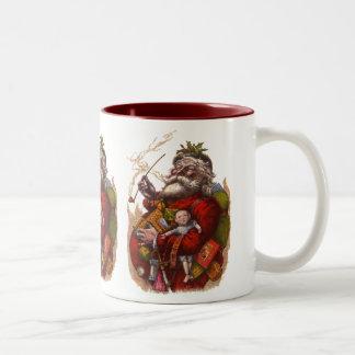 Vintage Christmas, Victorian Santa Claus Pipe Toys Two-Tone Coffee Mug