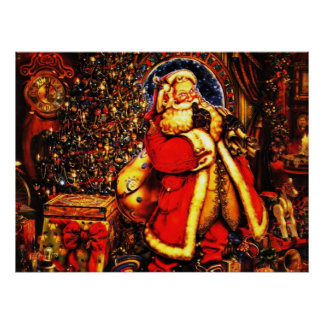 Vintage Christmas Victorian Santa Claus Poster