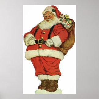 Vintage Christmas, Victorian Santa Claus Toys Posters