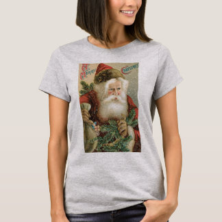 Vintage Christmas, Victorian Santa Claus with Pine T-Shirt
