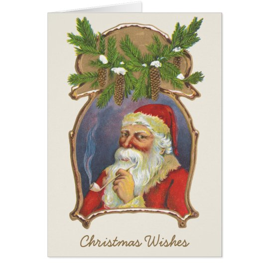 Vintage Christmas, Victorian Santa Claus with Pipe Card