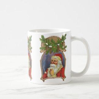Vintage Christmas, Victorian Santa Claus with Pipe Coffee Mug