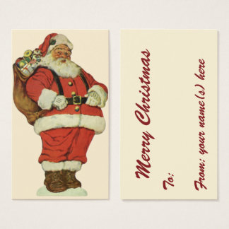 Vintage Christmas, Victorian Santa Claus with Toys Business Card