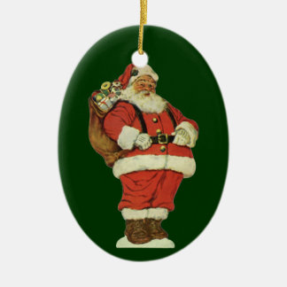Vintage Christmas, Victorian Santa Claus with Toys Ceramic Oval Decoration