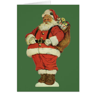 Vintage Christmas, Victorian Santa Claus with Toys Greeting Card