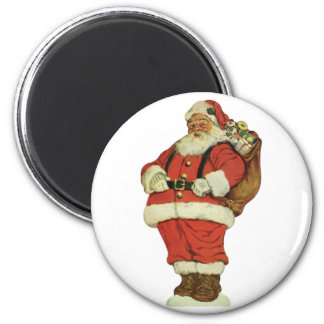 Vintage Christmas, Victorian Santa Claus with Toys 2 Inch Round Magnet