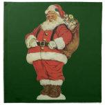 Vintage Christmas, Victorian Santa Claus with Toys Napkin