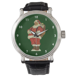 Vintage Christmas, Victorian Santa Claus with Toys Wristwatch