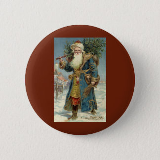 Vintage Christmas, Victorian Santa Claus with Tree 6 Cm Round Badge