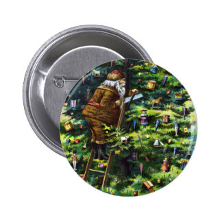 Vintage Christmas, Victorian Santa Claus with Tree Pinback Button