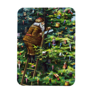 Vintage Christmas, Victorian Santa Claus with Tree Rectangular Photo Magnet