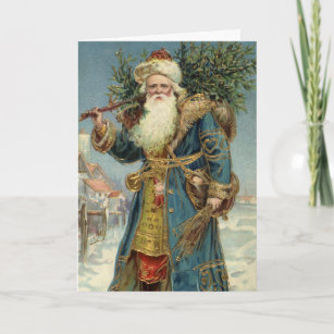 Vintage Christmas, Victorian Santa Claus with Tree Holiday Card
