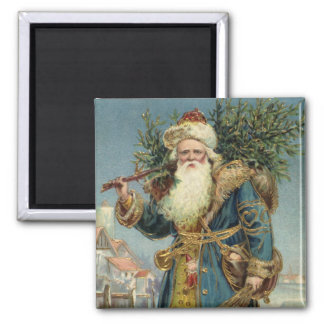 Vintage Christmas, Victorian Santa Claus with Tree Magnet
