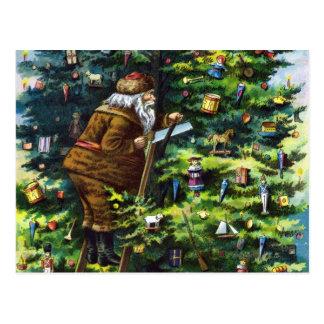 Vintage Christmas, Victorian Santa Claus with Tree Postcard