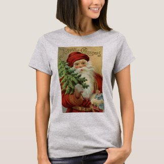 Vintage Christmas, Victorian Santa Claus with Tree T-Shirt
