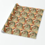 Vintage Christmas, Victorian Santa Claus Gift Wrapping Paper