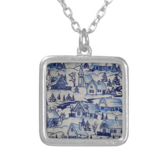 Vintage Christmas Village Girly Merry Xmas Holiday Square Pendant Necklace