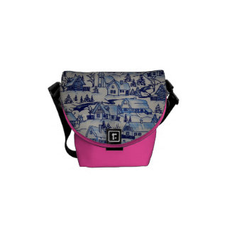 Vintage Christmas Village Girly Pink Merry Xmas Courier Bag