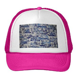 Vintage Christmas Village Girly Pink Merry Xmas Trucker Hat