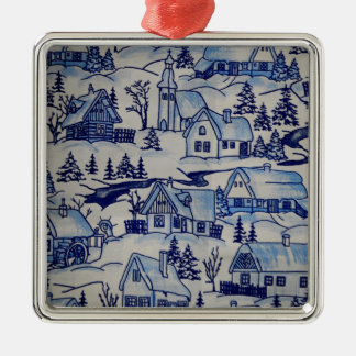 Vintage Christmas Village Merry Xmas Holiday Christmas Ornament