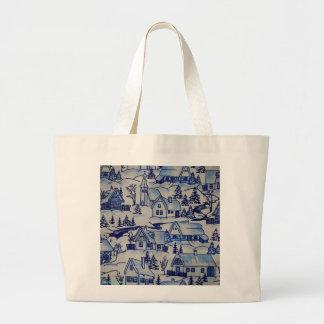 Vintage Christmas Village Merry Xmas Holiday Jumbo Tote Bag