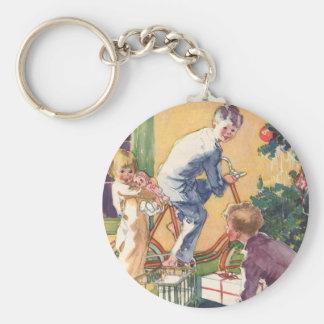 Vintage Christmas, Vintage Children with Presents Basic Round Button Key Ring