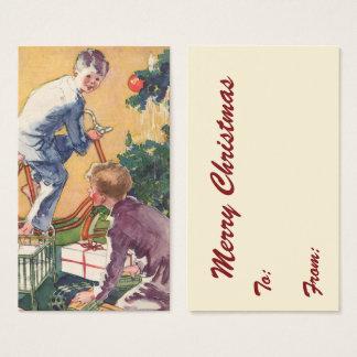 Vintage Christmas, Vintage Children with Presents Business Card