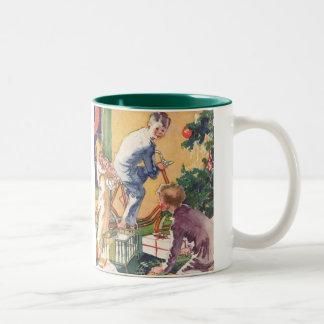 Vintage Christmas, Vintage Children with Presents Two-Tone Mug