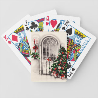 Vintage Christmas Window Bicycle Playing Cards